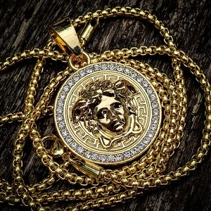 Gold Plated Stainless Steel Medusa Necklace